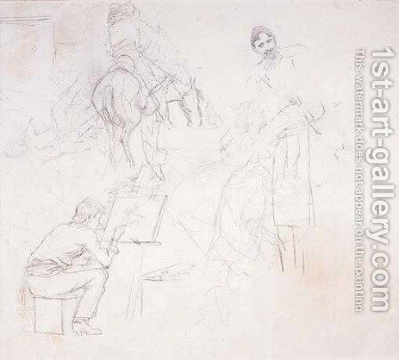 Charlie Painting in His Cabin (various sketches) by Charles Marion Russell - Reproduction Oil Painting