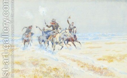 Cowboys on the Plains by Charles Marion Russell - Reproduction Oil Painting