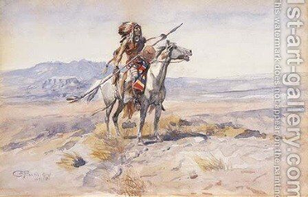 Indian on Horseback 2 by Charles Marion Russell - Reproduction Oil Painting