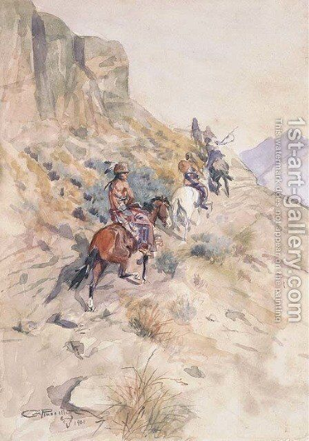 Indians on a Mountain Path by Charles Marion Russell - Reproduction Oil Painting