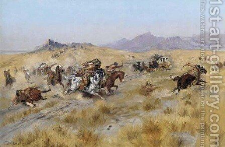 The Attack 2 by Charles Marion Russell - Reproduction Oil Painting