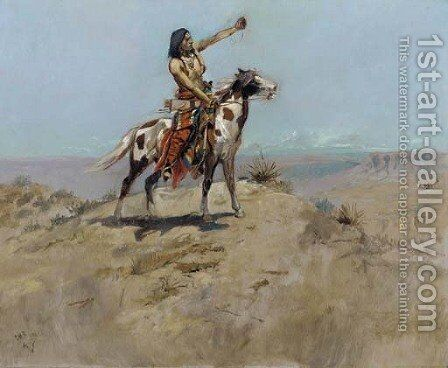 The Signal 2 by Charles Marion Russell - Reproduction Oil Painting