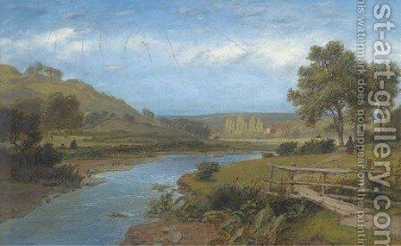 The walk home by the river; and Angling on the river by Charles Marshall - Reproduction Oil Painting