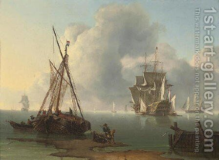 A Dutch warship revictualling in a calm off the coast of the Netherlands by Charles Martin Powell - Reproduction Oil Painting