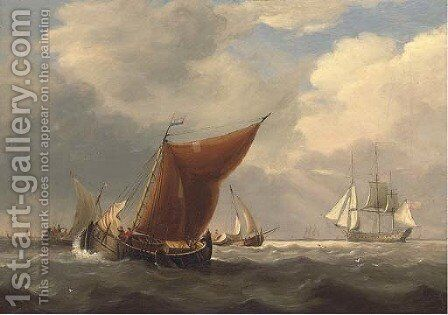 An English flagship heaving-to off the Dutch coast with barges inshore by Charles Martin Powell - Reproduction Oil Painting