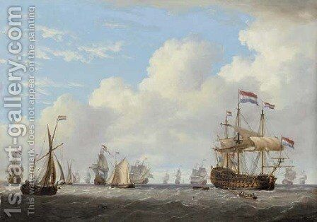 Dutch men-o'-war and other shipping in a calm by Charles Martin Powell - Reproduction Oil Painting