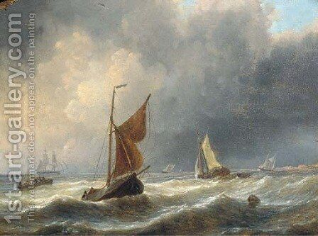 Heavy weather off the Dutch coast by Charles Martin Powell - Reproduction Oil Painting