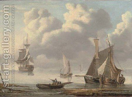 Shipping at anchor in a calm by Charles Martin Powell - Reproduction Oil Painting