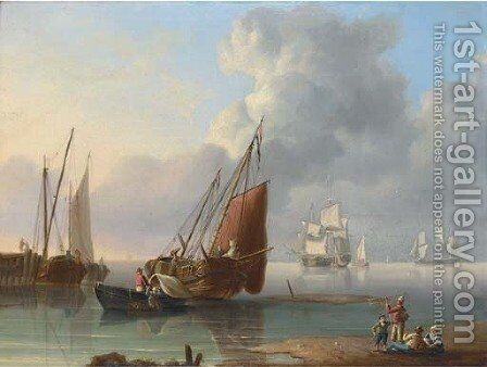 Unloading the catch at the end of the day, with merchantmen at anchor beyond by Charles Martin Powell - Reproduction Oil Painting