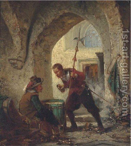The gambling sentry by Charles Meer Webb - Reproduction Oil Painting