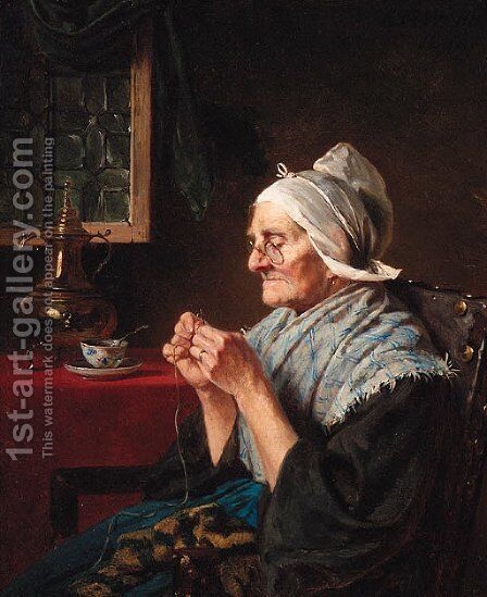Threading the Needle by Charles Meer Webb - Reproduction Oil Painting