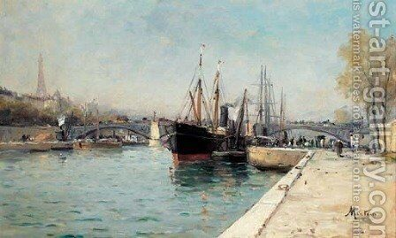 Shipping on the Seine at Le Pont d'Alma, The Eiffel Tower beyond by Charles Mertens - Reproduction Oil Painting