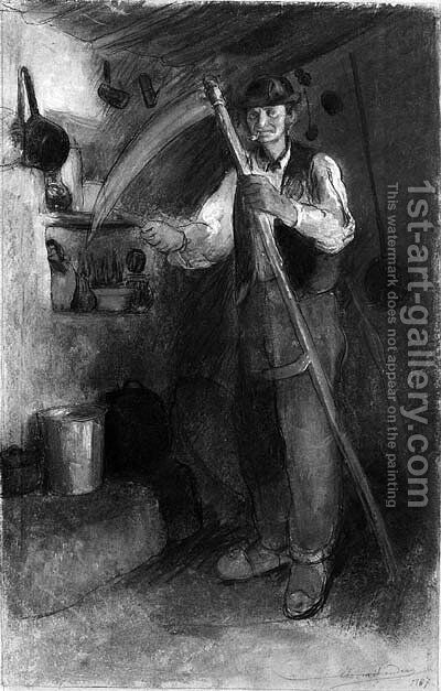 An old peasant in a interior, sharpening his scythe by Charles Milcendeau - Reproduction Oil Painting
