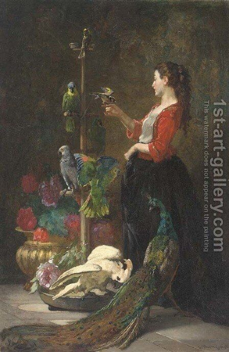 Jeune fille aux perroquets by Charles Monginot - Reproduction Oil Painting