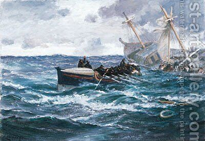 The Rescue by Charles Napier Hemy - Reproduction Oil Painting