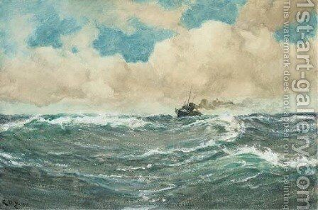 A destroyer on patrol by Charles Napier Hemy - Reproduction Oil Painting