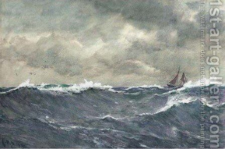 In a heavy swell by Charles Napier Hemy - Reproduction Oil Painting