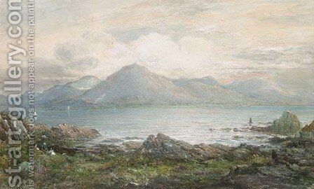 Sailing on the lake, in a mountainous landscape by Charles Nicholls Woolnoth - Reproduction Oil Painting