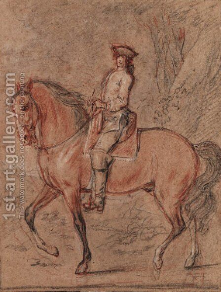 A gentleman wearing a tricorn hat on horseback in a landscape A study for an equestrian portrait of King Louis XV by Charles Parrocel - Reproduction Oil Painting