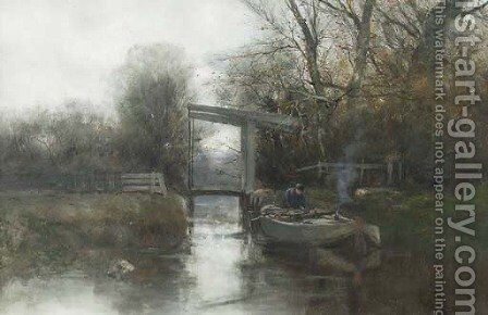 A misty morning in autumn by Charles Paul Gruppe - Reproduction Oil Painting