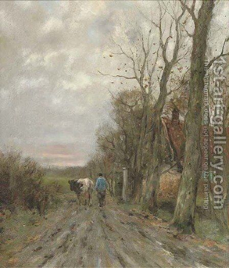 Along a country track at sunset by Charles Paul Gruppe - Reproduction Oil Painting