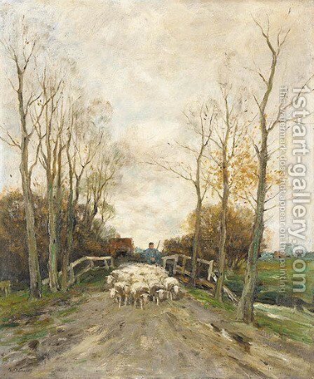Bringing the Sheep Home by Charles Paul Gruppe - Reproduction Oil Painting