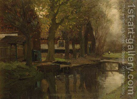 Farmhouses along a brook by Charles Paul Gruppe - Reproduction Oil Painting