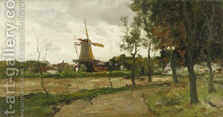 Landscape with Windmill by Charles Paul Gruppe - Reproduction Oil Painting
