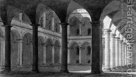 The Interior of a Courtyard of the Palazzo della Cancelleria, Rome by Charles Percier - Reproduction Oil Painting