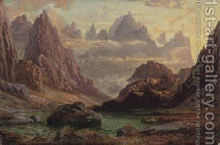 Sunset, Peaks of the Horungerne, Norway by Charles Petitt - Reproduction Oil Painting