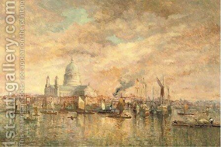 St Paul's Cathedral from the Thames by Charles Rendell - Reproduction Oil Painting