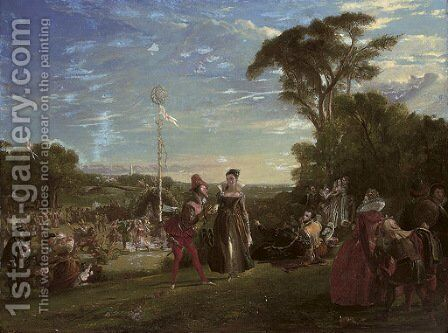 May Day in the reign of Queen Elizabeth by Charles Robert Leslie - Reproduction Oil Painting