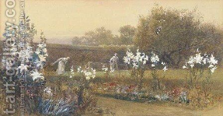 Roland and Mildred Robertson, the artist's children playing shuttlecock in the garden by Charles Robertson - Reproduction Oil Painting