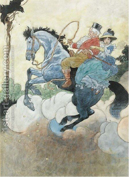 A gentleman and a lady on a rearing horse by Charles Robinson - Reproduction Oil Painting