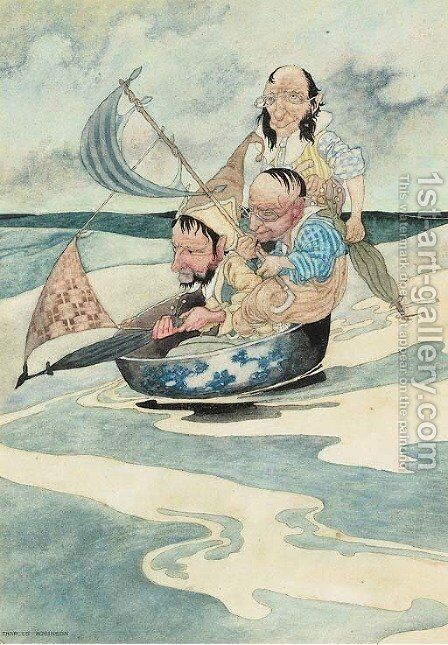 Three men in a tub by Charles Robinson - Reproduction Oil Painting