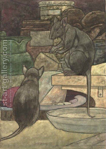 An illustration for Aesop's Fables The field mouse and the town mouse by Charles Robinson - Reproduction Oil Painting