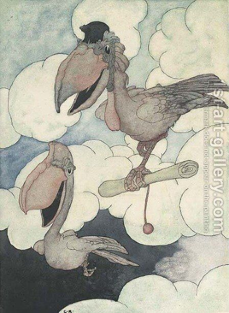 An illustration for The Big Book of Fables  The messenger by Charles Robinson - Reproduction Oil Painting