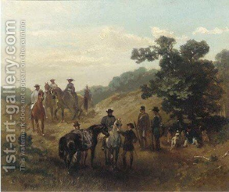 A hunting party at rest by Charles Rochussen - Reproduction Oil Painting