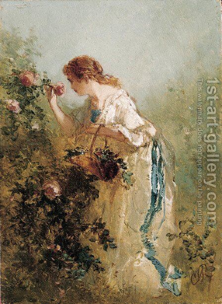 An elegant lady picking roses by Charles Rochussen - Reproduction Oil Painting