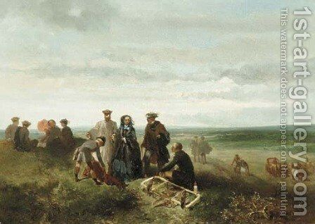 An elegant company during a falcon hunt by Charles Rochussen - Reproduction Oil Painting