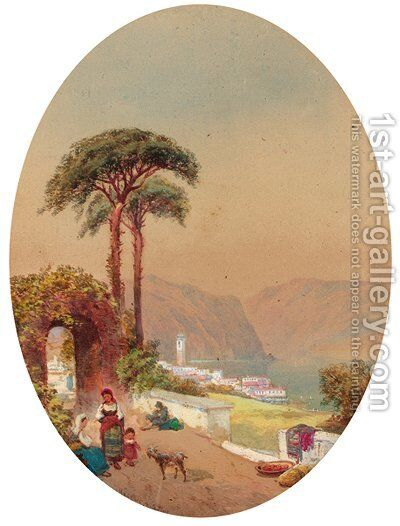 Figures on a track beside an Italian Lake by Charles Rowbotham - Reproduction Oil Painting
