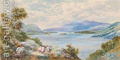Figures on a track in a lakeland landscape by Charles Rowbotham - Reproduction Oil Painting