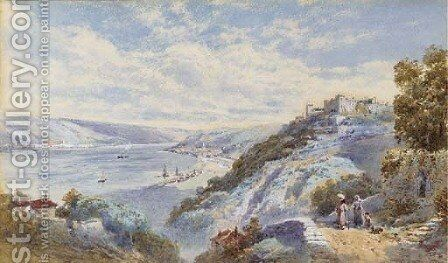 Figures on a track overlooking an estuary in a Continental landscape by Charles Rowbotham - Reproduction Oil Painting