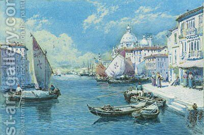 The Grand Canal with Santa Maria della Salute beyond by Charles Rowbotham - Reproduction Oil Painting