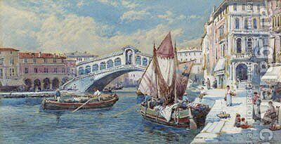 The Rialto Bridge, Venice, Italy by Charles Rowbotham - Reproduction Oil Painting