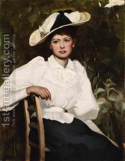Posing in the Garden by Charles Russell - Reproduction Oil Painting