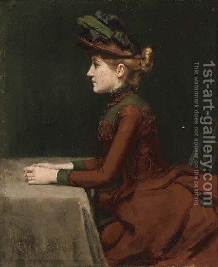 A thoughtful moment by Charles S. Parker - Reproduction Oil Painting