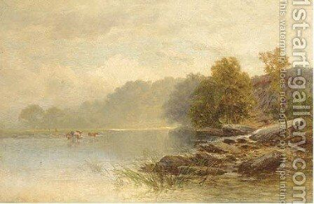 Cattle watering in a tranquil river by Charles S. Shaw - Reproduction Oil Painting