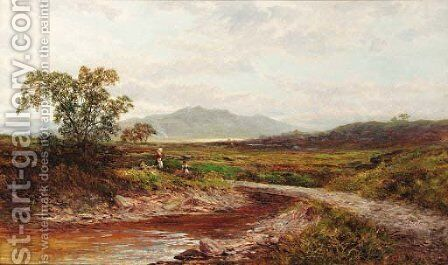 Figures before a bridge, Llyn Elsir, North Wales by Charles E. Shaw - Reproduction Oil Painting