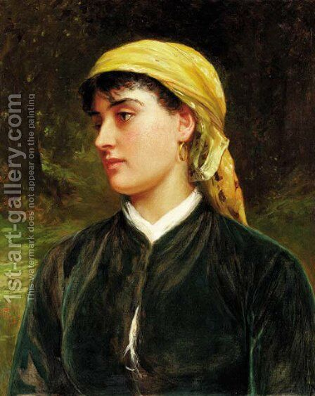 A country girl by Charles Sillem Lidderdale - Reproduction Oil Painting
